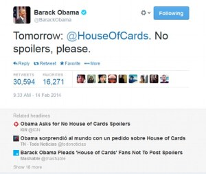 House of Cards Barack Obama Twitter